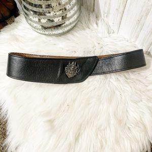 Ginnie Johansen asymmetrical Black Leather Belt